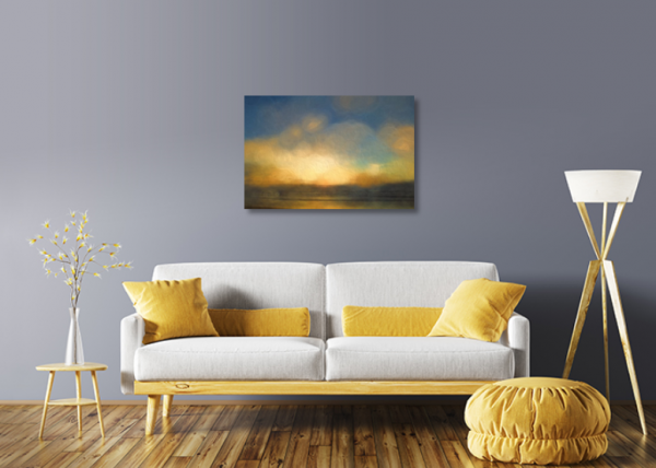 ocean glimmer acrylic print living room mockup